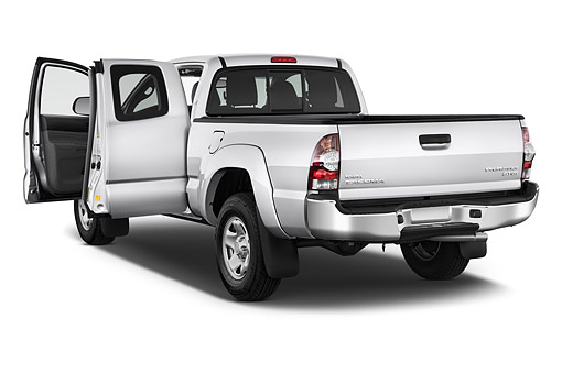 AUT 14 IZ0280 01 © Kimball Stock 2015 Toyota Tacoma Prerunner Access Cab AT 4-Door Truck 3/4 Rear View In Studio