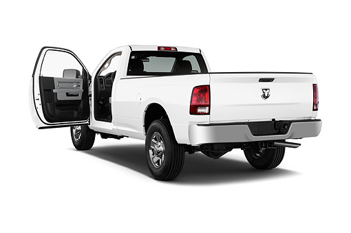 AUT 14 IZ2052 01 © Kimball Stock 2014 Ram 2500 Tradesman Regular Cab SWB 2-Door Truck 3/4 Rear View In Studio