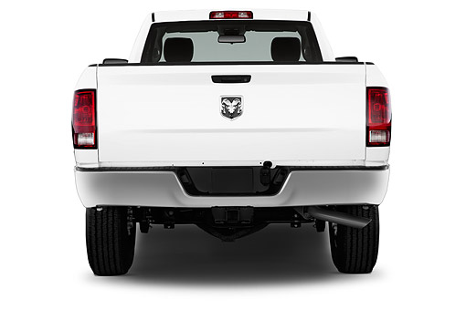 AUT 14 IZ2054 01 © Kimball Stock 2014 Ram 2500 Tradesman Regular Cab SWB 2-Door Truck Rear View In Studio