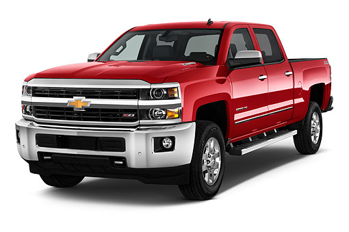 AUT 14 IZ2057 01 © Kimball Stock 2015 Chevrolet Silverado 1500 LTZ 2 4x4 Crew Cab Short Box 4-Door Truck 3/4 Front View In Studio