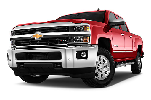 AUT 14 IZ2063 01 © Kimball Stock 2015 Chevrolet Silverado 1500 LTZ 2 4x4 Crew Cab Short Box 4-Door Truck 3/4 Front View In Studio