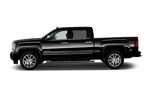 AUT 14 IZ2556 01 © Kimball Stock 2015 GMC Sierra 1500 2WD Crew Cab Denali 4-Door Truck Profile View In Studio