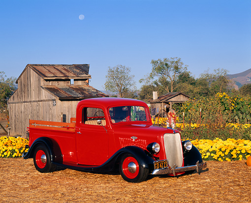 AUT 14 RK0317 07 © Kimball Stock 1935 Ford 1/2 Ton Pick Up Truck Red Low 3/4 Side View By Flowers And Old Barn Blue Sky