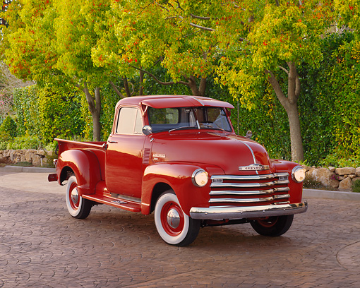 1952 Chevrolet Pick Up Truck Red With Fulton Visor 3 4 Front