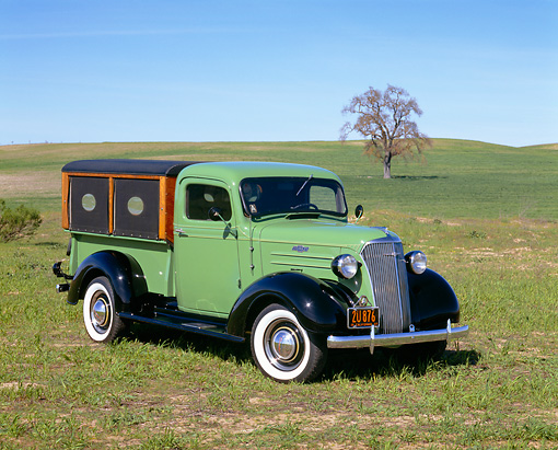 AUT 14 RK0385 04 © Kimball Stock 1937 Chevrolet Pickup Truck with vegetable vending canopy.