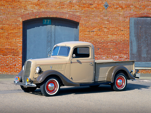 AUT 14 RK0536 11 © Kimball Stock 1937 Ford Pick Up Tan 3/4 Side View On Pavement By Brick Building