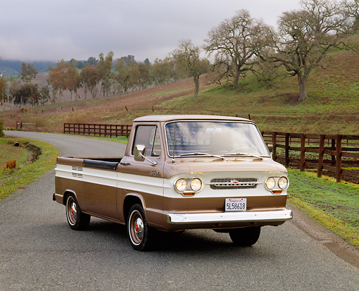 AUT 14 RK0657 04 © Kimball Stock 1964 Chevrolet Corvair 95 Rampside Tan And White 3/4 Front View On Pavement By Hills And Trees