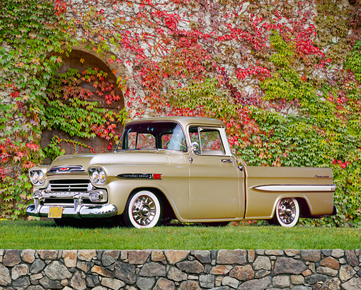 AUT 14 RK1003 02 © Kimball Stock 1959 Chevrolet Apache Pick Up Truck Gold 3/4 Side View On Grass By Ivy Covered Wall