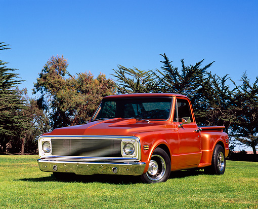 AUT 14 RK1032 02 © Kimball Stock 1972 Chevrolet Pickup Truck Copper Low 3/4 Front View On Grass By Trees