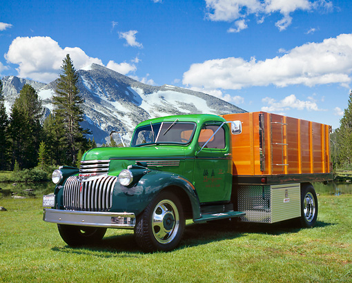AUT 14 RK1076 01 © Kimball Stock 1946 Chevy 4400 1 1/2 Ton Dump Truck Green 3/4 Front View On Grass By Trees And Mountain
