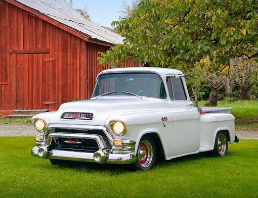 AUT 14 RK1141 01 © Kimball Stock 1956 GMC 100 Pick Up Truck White 3/4 Front View On Grass By Red Barn