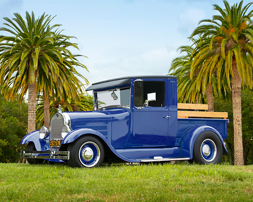 AUT 14 RK1142 01 © Kimball Stock 1928 Ford Model A Pick Up Truck Blue 3/4 Side View On Grass By Palm Trees