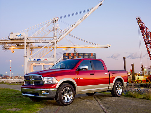 AUT 14 RK1442 01 © Kimball Stock 2009 Dodge Ram 1500 Laramie Pickup Truck Red 3/4 Front View By Port