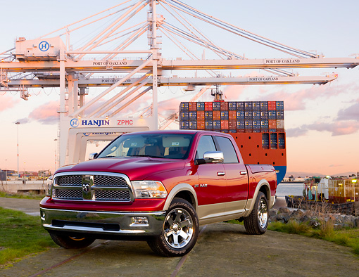 AUT 14 RK1452 01 © Kimball Stock 2009 Dodge Ram 1500 Laramie Pickup Truck Red 3/4 Front View By Port