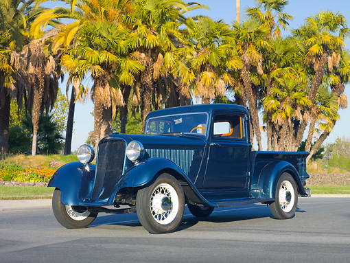 AUT 14 RK1568 01 © Kimball Stock 1932 Dodge Pickup Truck Green 3/4 Front View On Pavement By Palm Trees