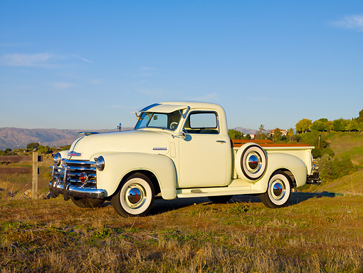 AUT 14 RK1603 01 © Kimball Stock 1949 Chevrolet Pickup Truck Cream 3/4 Front View On Dry Grass