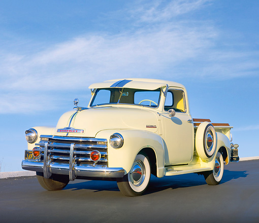 AUT 14 RK1604 01 © Kimball Stock 1949 Chevrolet Pickup Truck Cream 3/4 Front View On Pavement