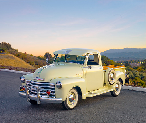 AUT 14 RK1606 01 © Kimball Stock 1949 Chevrolet Pickup Truck Cream 3/4 Front View On Pavement
