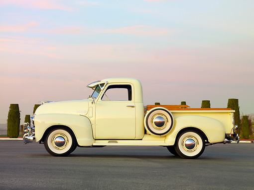 AUT 14 RK1608 01 © Kimball Stock 1949 Chevrolet Pickup Truck Cream Profile View On Pavement