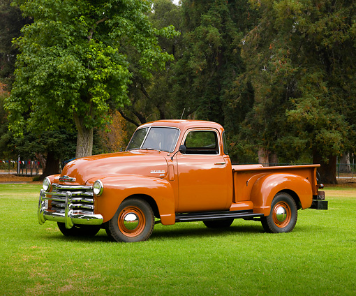 AUT 14 RK1627 01 © Kimball Stock 1949 Chevrolet 3100 Pickup Truck Brown 3/4 Side View On Grass By Trees
