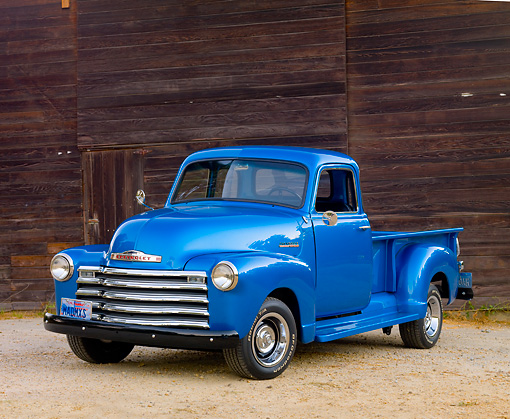 AUT 14 RK1649 01 © Kimball Stock 1948 Chevrolet Thriftmaster Pickup Truck Blue 3/4 Front View On Gravel By Wood Building