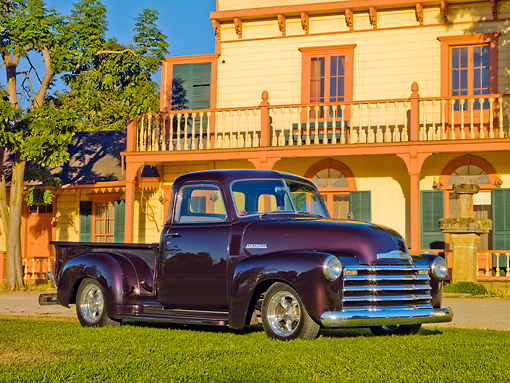 AUT 14 RK1660 01 © Kimball Stock 1948 Chevrolet 1/2 Ton Pickup Truck Black Currant 3/4 Side View On Grass By House