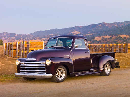 AUT 14 RK1667 01 © Kimball Stock 1948 Chevrolet 1/2 Ton Pickup Truck Black Currant 3/4 Front View On Pavement By Farm