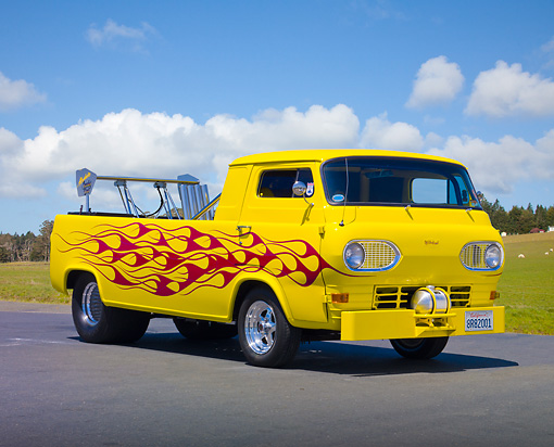 AUT 14 RK1688 01 © Kimball Stock 1963 Ford E100 Pickup Truck Yellow With Red Flames 3/4 Front View On Pavement