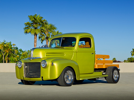 AUT 14 RK1699 01 © Kimball Stock 1947 Ford Pickup Flatbed Lime Gold 3/4 Front View On Pavement By Palm Trees