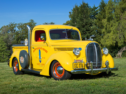 AUT 14 RK1747 01 © Kimball Stock 1938 Ford Pickup Corvette Yellow With Pipes 3/4 Front View On Grass By Trees