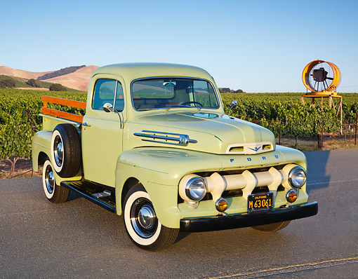AUT 14 RK1774 01 © Kimball Stock 1952 Ford F-1 Pickup Glen Mist Green 3/4 Front View On Pavement By Vineyard