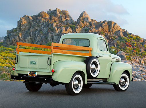 AUT 14 RK1782 01 © Kimball Stock 1952 Ford F-1 Pickup Glen Mist Green 3/4 Rear View On Pavement By Rocky Hill