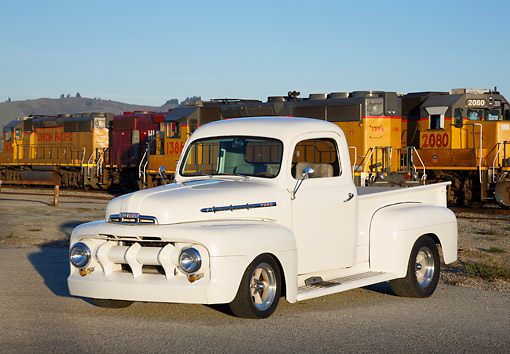 AUT 14 RK1795 01 © Kimball Stock 1951 Ford F-1 White Pearl 3/4 Front View On Pavement By Train