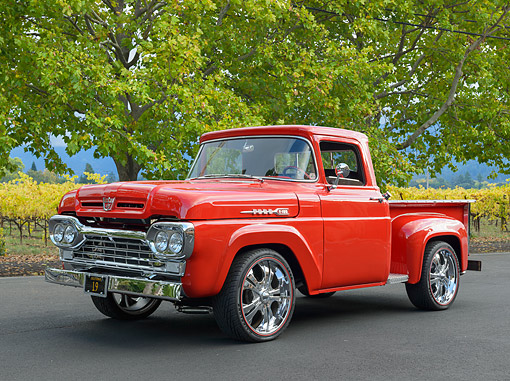 AUT 14 RK1821 01 © Kimball Stock 1960 Ford Stepside Pickup Red 3/4 Front View On Pavement By Vineyard
