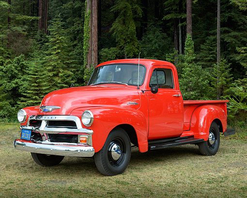 AUT 14 RK1826 01 © Kimball Stock 1954 Chevrolet 3100 Pickup Red 3/4 Front View On Grass By Trees
