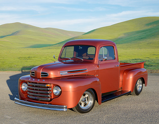 AUT 14 RK1827 01 © Kimball Stock 1948 Ford F-1 Pickup Copper 3/4 Front View On Gravel By Grassy Hills