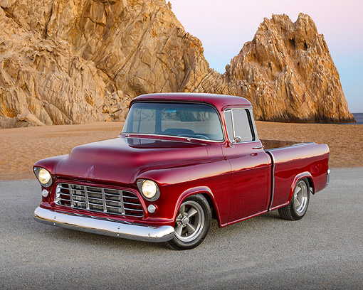 AUT 14 RK1832 01 © Kimball Stock 1955 Chevrolet Cameo Pickup Black Cherry 3/4 Front View On Gravel By Beach