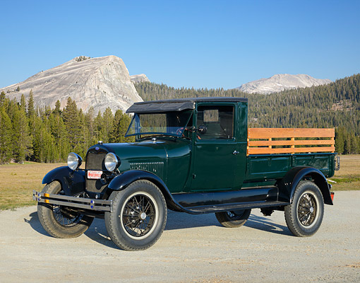 AUT 14 RK1839 01 © Kimball Stock 1928 Ford AA Moss Green 3/4 Front View On Gravel By Mountains
