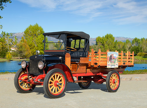 AUT 14 RK1843 01 © Kimball Stock 1920 Maxwell Truck Black 3/4 Side View On Pavement By Pond