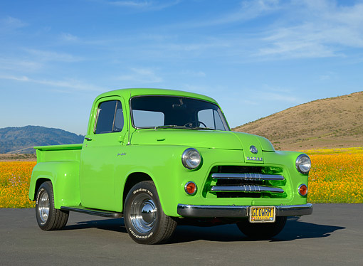 AUT 14 RK1849 01 © Kimball Stock 1954 Dodge Pickup C1-B6 Signal Green 3/4 Front View On Pavement By Wildflowers