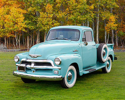 AUT 14 RK1860 01 © Kimball Stock 1954 Chevrolet 3100 Pickup Light Blue 3/4 Front View On Grass By Autumn Trees