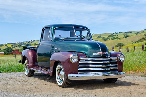 AUT 14 RK1882 01 © Kimball Stock 1952 Chevrolet 3100 Pickup Truck Green And Brown 3/4 Front View On Gravel By Hills