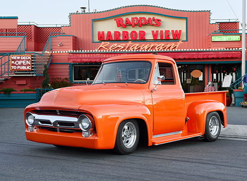 AUT 14 RK1886 01 © Kimball Stock 1954 Ford F100 Orange 3/4 Front View At Harbor Restaurant