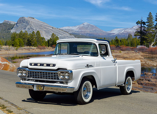 AUT 14 RK1889 01 © Kimball Stock 1959 Ford F-100 Pickup White With Blue Top 3/4 Front View In Summer Meadow