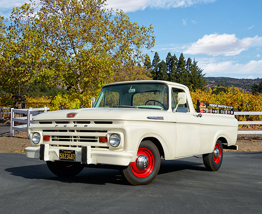 AUT 14 RK1890 01 © Kimball Stock 1962 Ford F-100 Unibody Pickup White With Red Rims 3/4 Front View In Autumn Vineyard