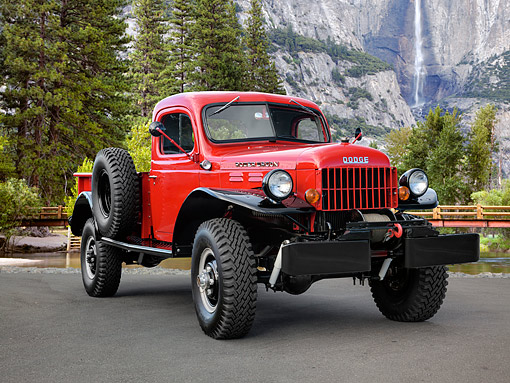 AUT 14 RK1891 01 © Kimball Stock 1968 Dodge WM 300 Power Wagon Red 3/4 Front View In Yosemite