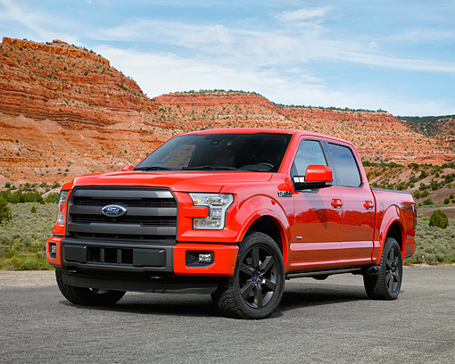 AUT 14 RK1896 01 © Kimball Stock 2015 Ford F-150 Lariat With Aluminum Body Red 3/4 Front View On Pavement