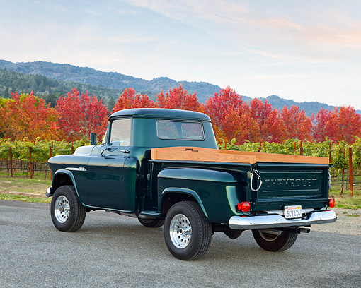 AUT 14 RK1898 01 © Kimball Stock 1955 Chevrolet Pickup 3100 Green 3/4 Rear View On Pavement By Vineyard