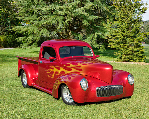 AUT 14 RK1903 01 © Kimball Stock 1941 Willys Pickup Red With Flames 3/4 Front View By Vineyard And Trees