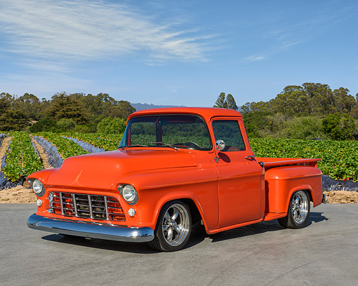 AUT 14 RK1918 01 © Kimball Stock 1955 Chevrolet Pickup Orange 3/4 Front View By Farm